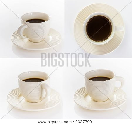 Coffee Cup And Saucer On White Background.