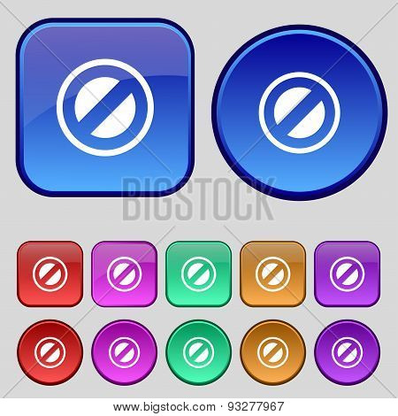 Cancel Icon Sign. A Set Of Twelve Vintage Buttons For Your Design. Vector
