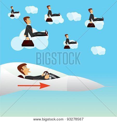 businessman navigating a fighter plane
