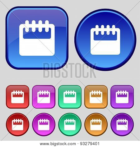 Notepad, Calendar Icon Sign. A Set Of Twelve Vintage Buttons For Your Design. Vector