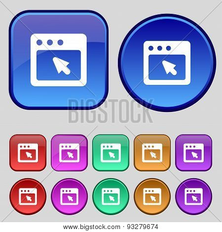 The Dialog Box Icon Sign. A Set Of Twelve Vintage Buttons For Your Design. Vector