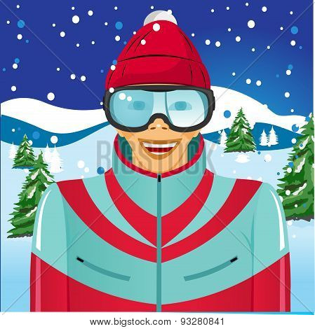 smiling skier with ski goggles