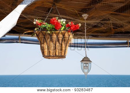 Beautiful Hanging Basket With Artificial Flowers