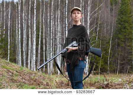 Woman Hunter With Gun