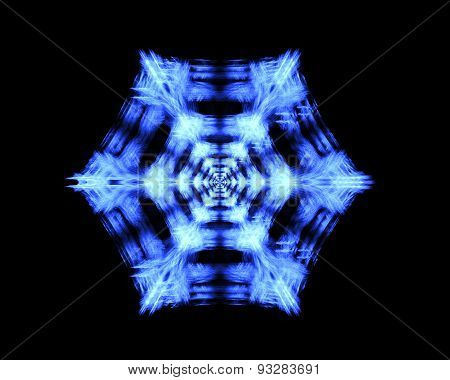 Blue Snowflake On A Black Background