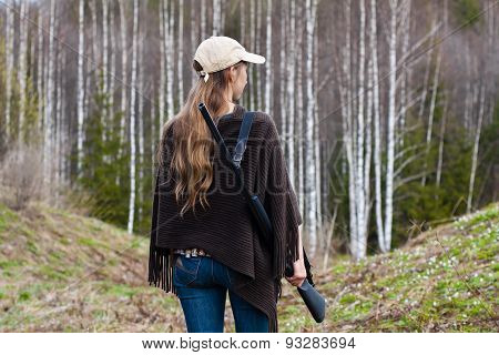 Female Hunter In The Forest