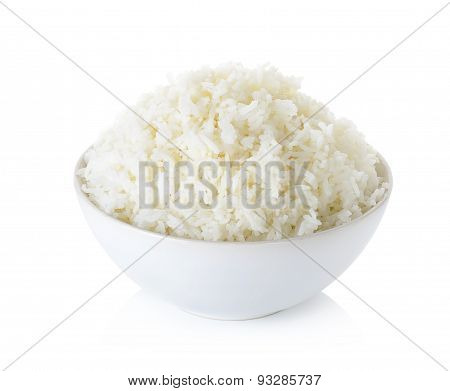Rice With Bowl Isolated On The White Background