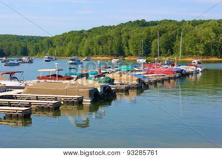 Lake Marina with Boats