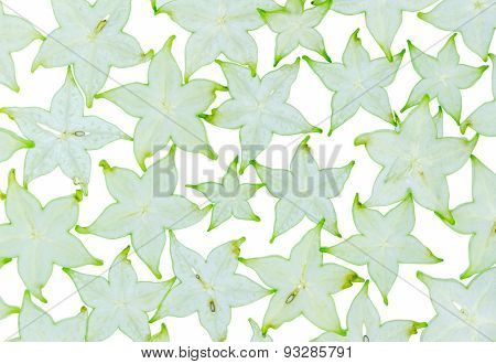 Star Fruit On White Isolate Background.