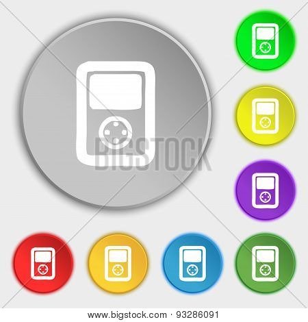 Tetris, Video Game Console Icon Sign. Symbol On Five Flat Buttons. Vector