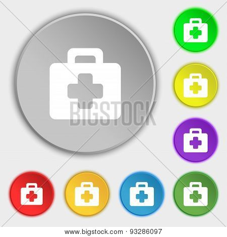 First Aid Kit Icon Sign. Symbol On Five Flat Buttons. Vector
