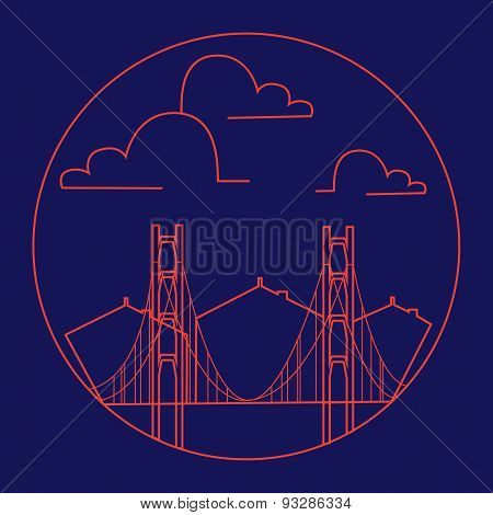 Vector Golden Gate Bridge Vintage Thin Line Label. Retro Vector Design Graphic Element, Badge, Emble