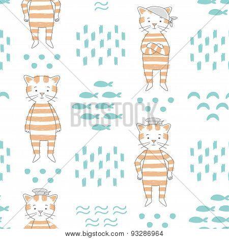 Cat Vector Seamless Pattern