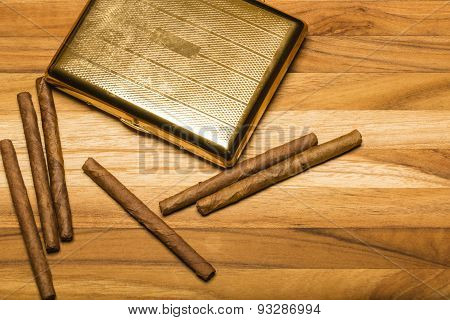 Brass Cigarette Case And Cuban Cigarillos
