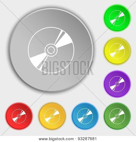 Cd, Dvd, Compact Disk, Blue Ray Icon Sign. Symbol On Five Flat Buttons. Vector