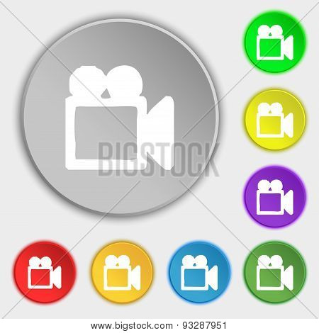 Camcorder Icon Sign. Symbol On Five Flat Buttons. Vector