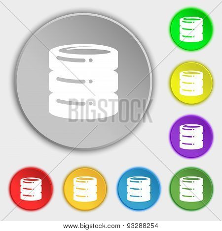 Hard Disk Icon Sign. Symbol On Five Flat Buttons. Vector