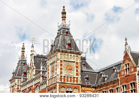 Beautiful fragment of a building in Amsterdam Central Station