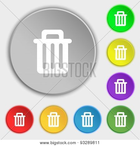 Recycle Bin Icon Sign. Symbol On Five Flat Buttons. Vector