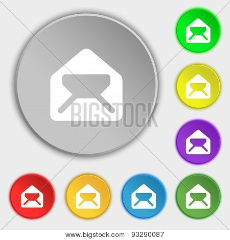 Mail, Envelope, Letter Icon Sign. Symbol On Five Flat Buttons. Vector