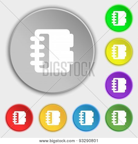 Notepad, Calendar Icon Sign. Symbol On Five Flat Buttons. Vector