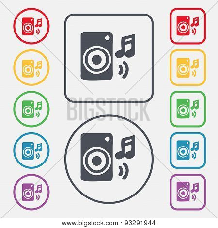 Music Column, Disco, Music, Melody, Speaker Icon Sign. Symbol On The Round And Square Buttons With F