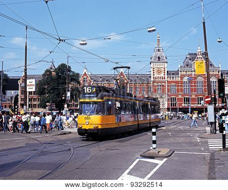 Tram and railway station, Holland.
