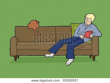 Blond Man With Food And Cat