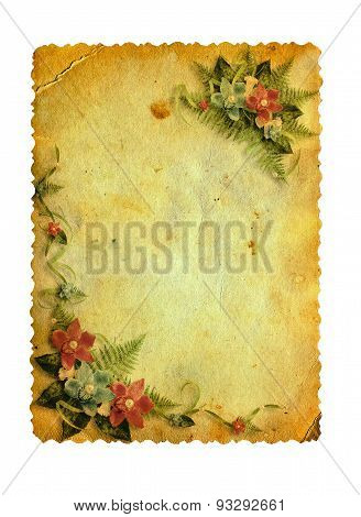 Grunge Carved Postcard With Orchids On The White Isolated Background