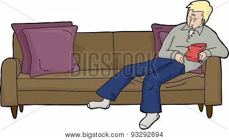 Man With Food Asleep On Couch