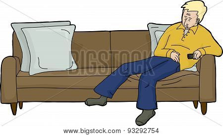 Blond Man With Remote On Couch
