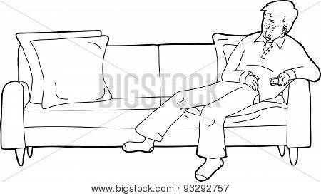Sleeping Adult With Tv Remote