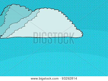 Cartoon Cumulonimubus Clouds On Halftone
