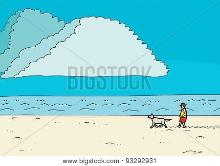 Male Walking Dog At Seashore