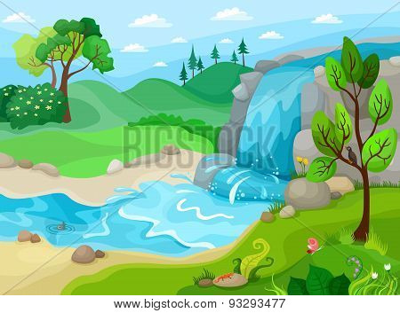 waterfall vector illustration