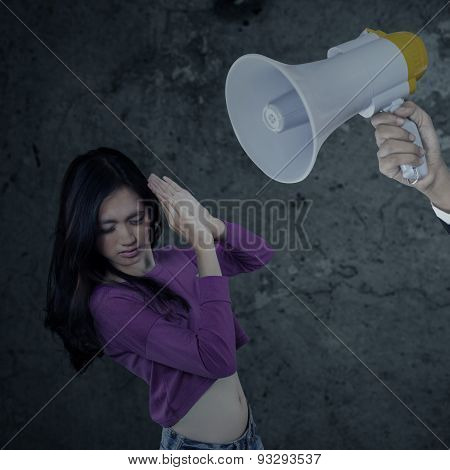 Girl Scolded With A Megaphone