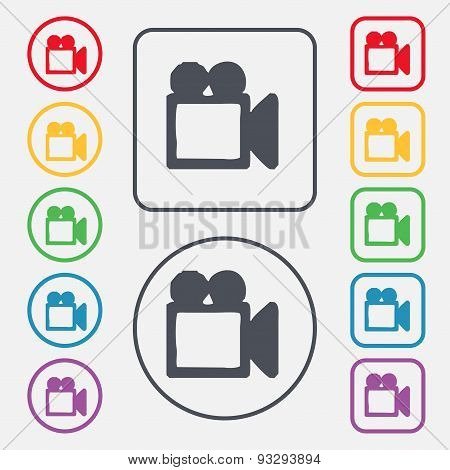 Camcorder Icon Sign. Symbol On The Round And Square Buttons With Frame. Vector