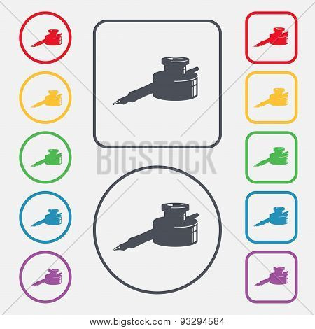 Pen And Ink Icon Sign. Symbol On The Round And Square Buttons With Frame. Vector