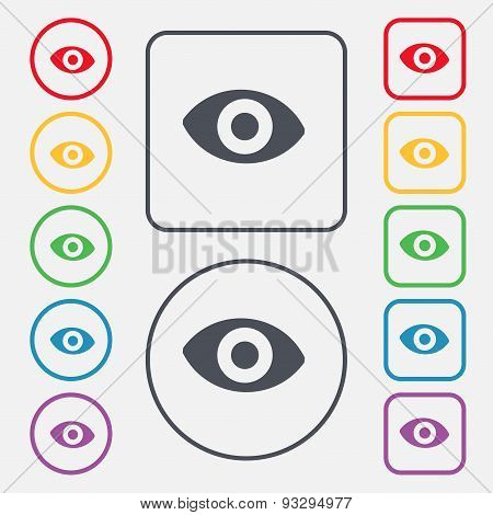 Sixth Sense, The Eye Icon Sign. Symbol On The Round And Square Buttons With Frame. Vector