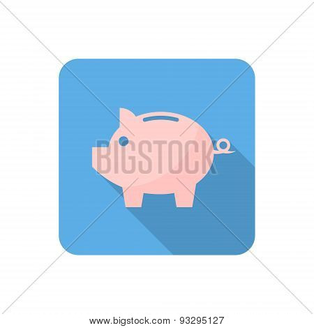 Flat Piggy Bank Icon With Long Shadow. Vector Illustration