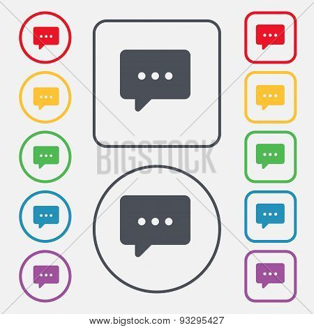Cloud Of Thoughts Icon Sign. Symbol On The Round And Square Buttons With Frame. Vector
