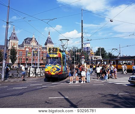 Tram in city centre, Amsterdam.