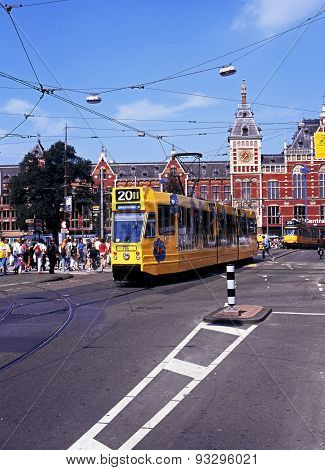 Tram and railway station, Amsterdam.