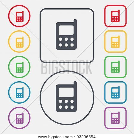Mobile Phone Icon Sign. Symbol On The Round And Square Buttons With Frame. Vector