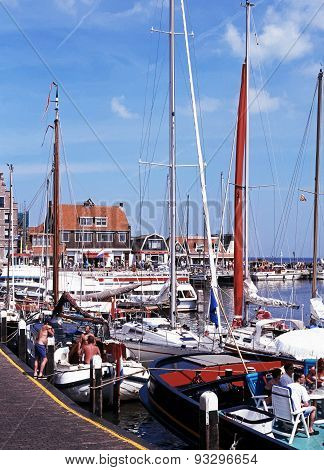 Yachts in harbour, Volendam.