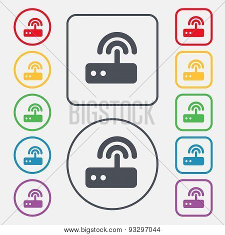 Wi Fi Router Icon Sign. Symbol On The Round And Square Buttons With Frame. Vector