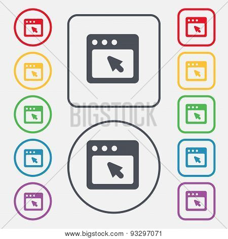 The Dialog Box Icon Sign. Symbol On The Round And Square Buttons With Frame. Vector