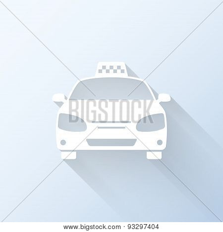 Flat Taxi Icon With Long Shadow. Vector Illustration