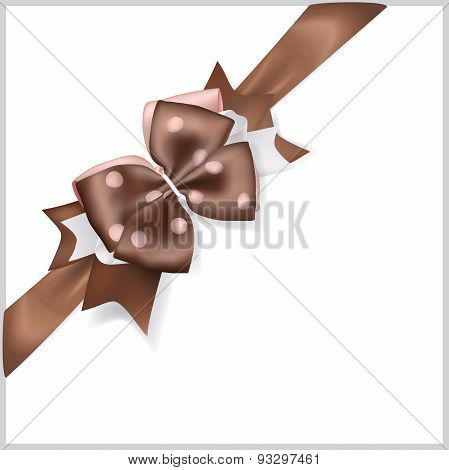 Brown Bow With Diagonally Ribbon