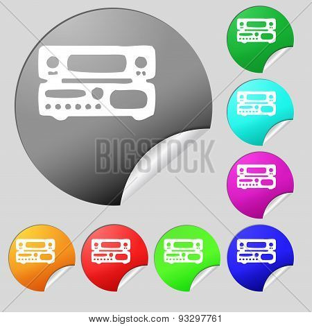 Radio, Receiver, Amplifier Icon Sign. Set Of Eight Multi Colored Round Buttons, Stickers. Vector